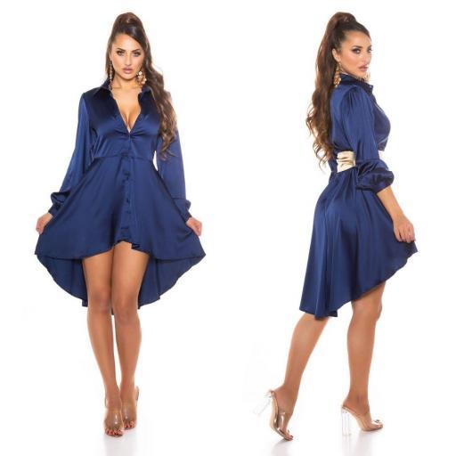 Vestido efecto seda azul [1]
