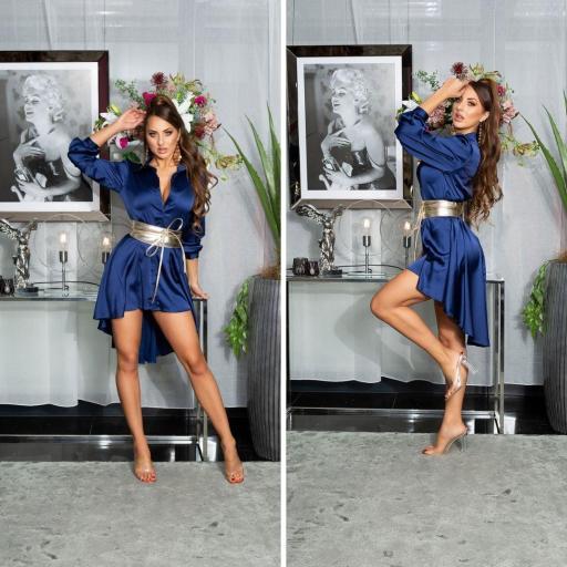 Vestido efecto seda azul [2]