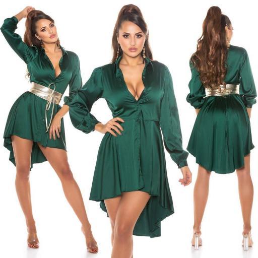 Vestido efecto seda verde