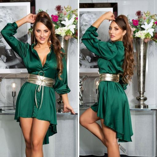 Vestido efecto seda verde [2]