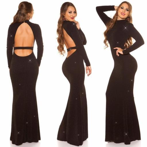 Vestido noche largo negro oro
