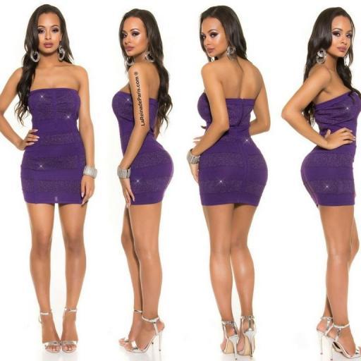 Mini vestido tejido de Lurex Purpura