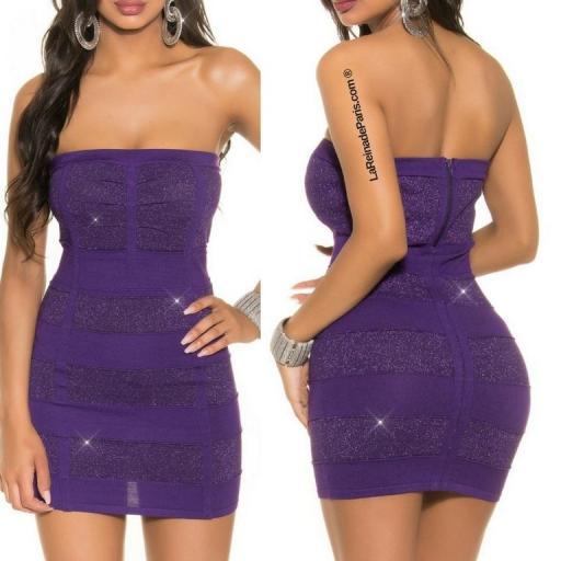 Mini vestido tejido de Lurex Purpura [3]