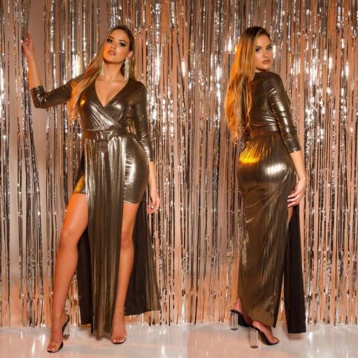 Vestido con cinturón brillante oro [2]