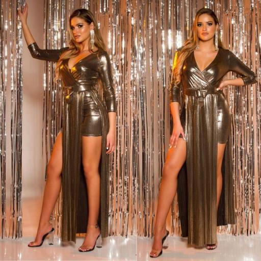 Vestido con cinturón brillante oro [3]