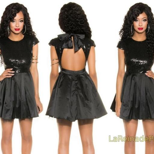 Vestido de fiesta sedoso negro brillante [1]