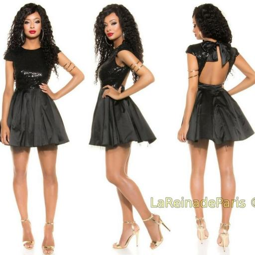 Vestido de fiesta sedoso negro brillante [0]