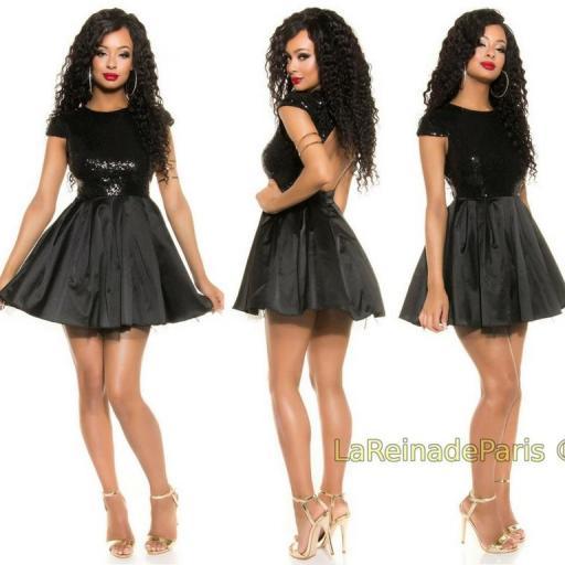 Vestido de fiesta sedoso negro brillante [2]