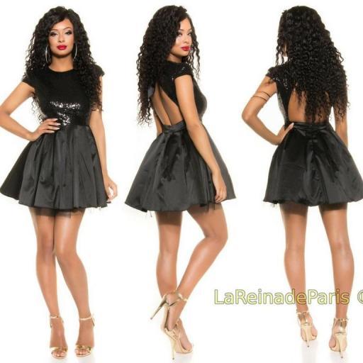 Vestido de fiesta sedoso negro brillante [3]
