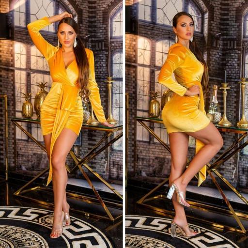 Vestido terciopelo brillante oro