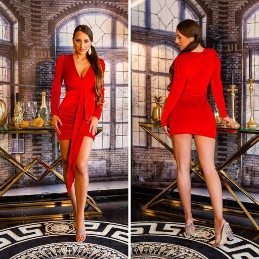 Vestido terciopelo brillante rojo