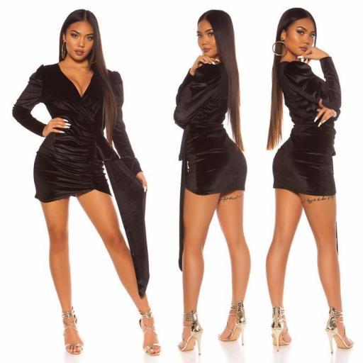 Vestido terciopelo brillante negro [3]