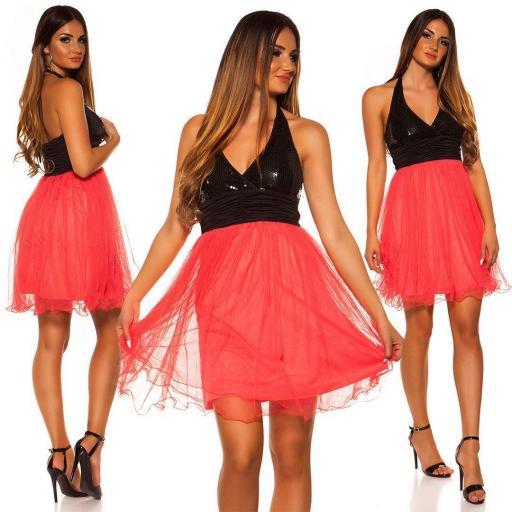 Vestido de fiesta lentejuelas frambuesa