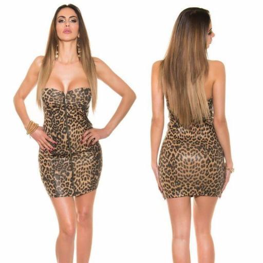 Vestido corto cremallera leopardo