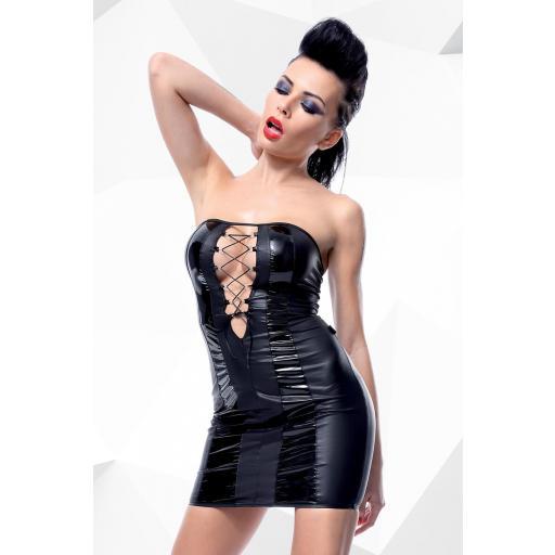 Mini vestido sexy negro PVC brillante