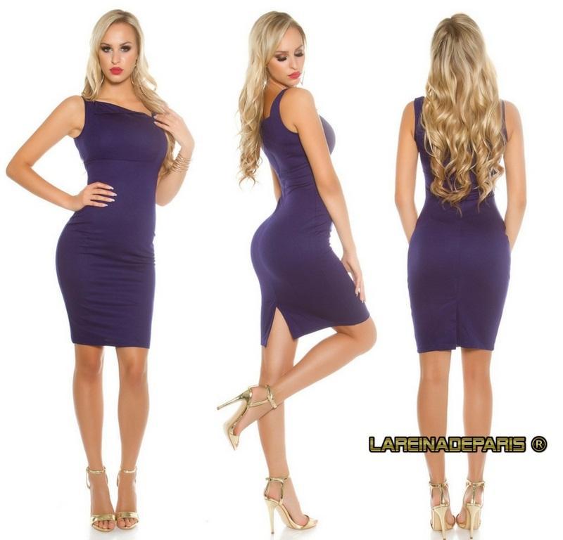 Vestido azul entallado asimétrico