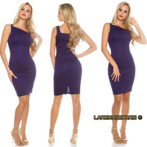 Vestido azul entallado asimétrico  [3]