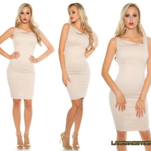 vestido beige atractivo asimétrico  [3]