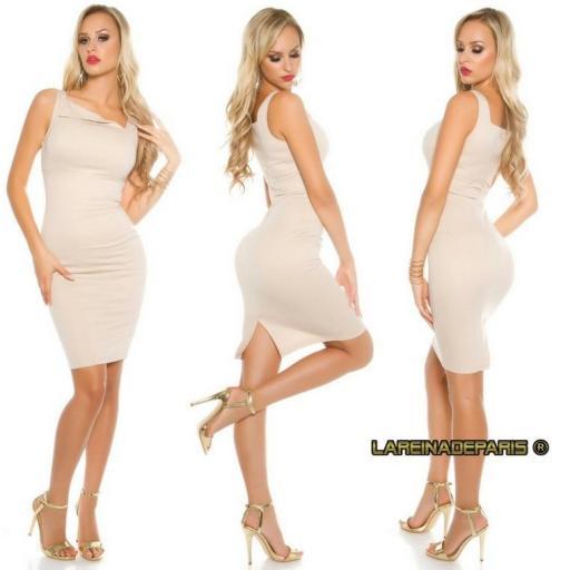 vestido beige atractivo asimétrico  [2]