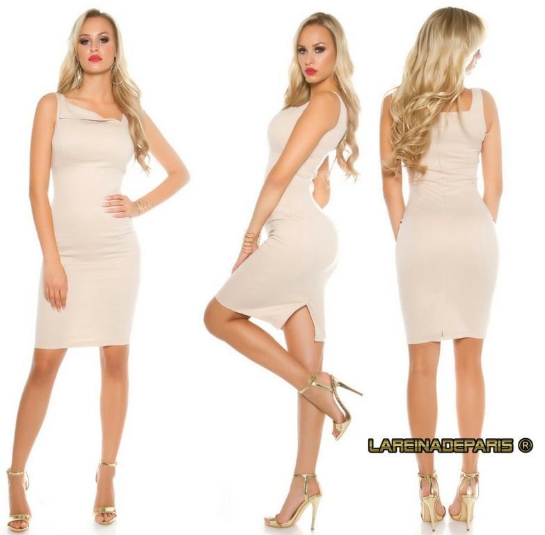 vestido beige atractivo asimétrico