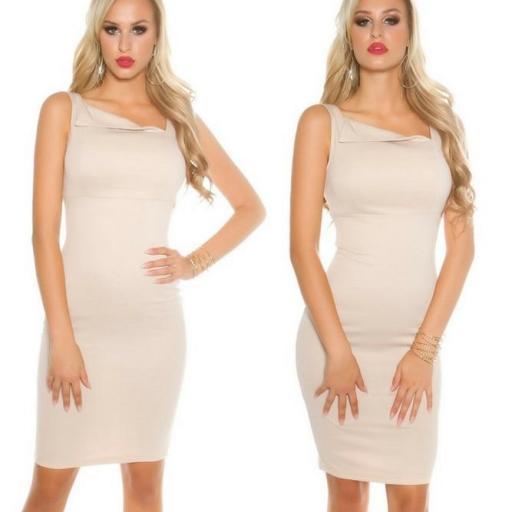 vestido beige atractivo asimétrico  [1]