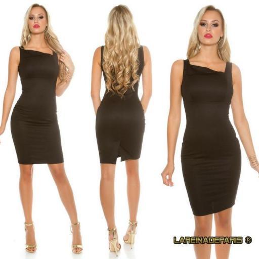 Vestido negro sofisticado asimétrico  [2]