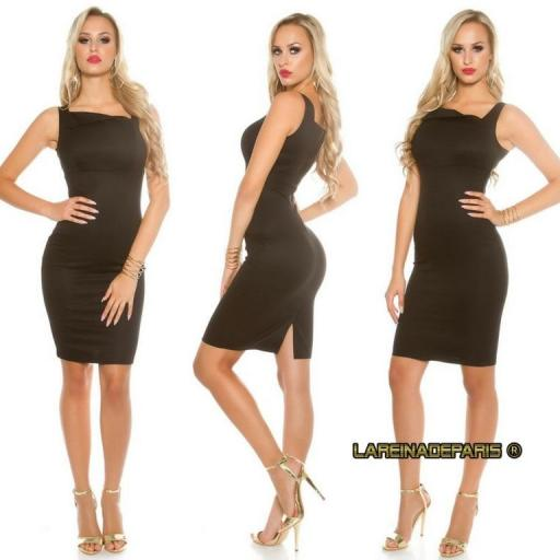 Vestido negro sofisticado asimétrico  [3]