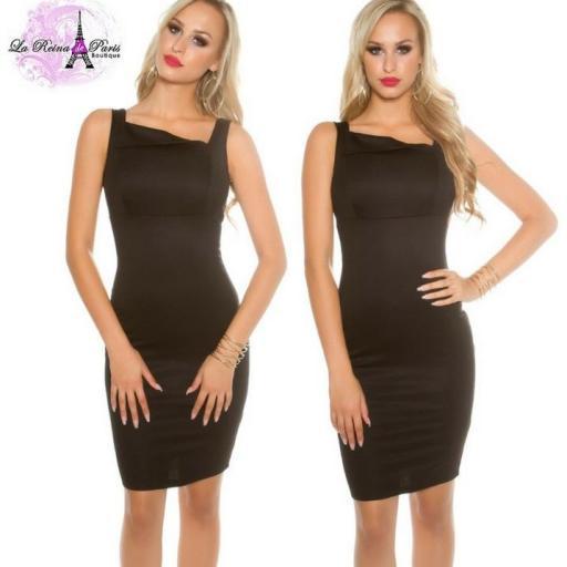 Vestido negro sofisticado asimétrico  [1]