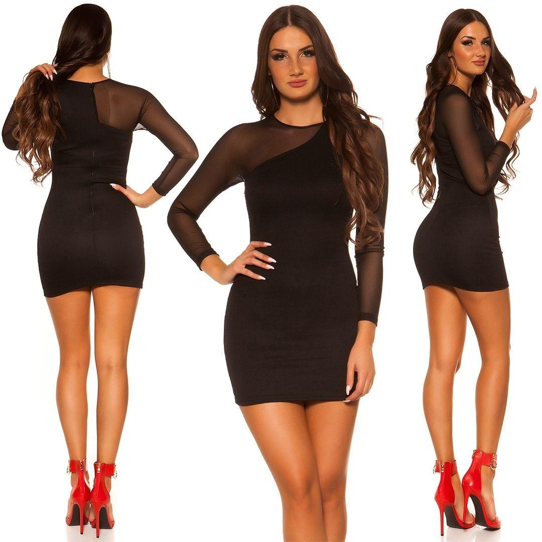 Vestido negro de moda manga larga