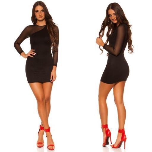 Vestido negro de moda manga larga [1]