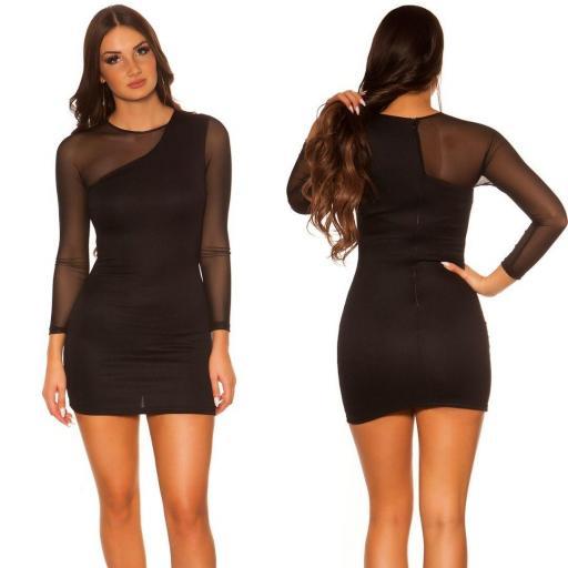 Vestido negro de moda manga larga [3]