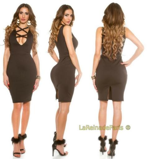 Vestido negro de moda escote atractivo  [0]