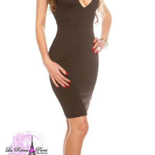 Vestido negro de moda escote atractivo  [2]