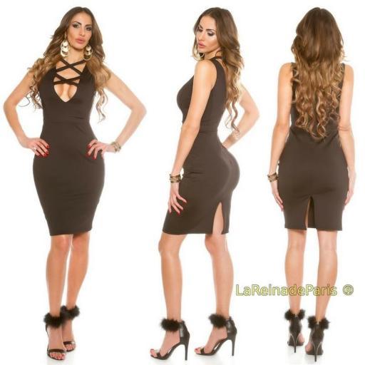 Vestido negro de moda escote atractivo  [1]