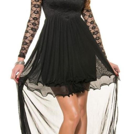 Vestido negro de noche de encaje  [1]