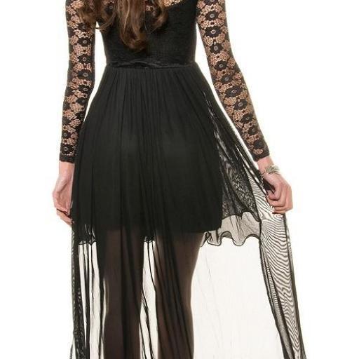 Vestido negro de noche de encaje  [2]