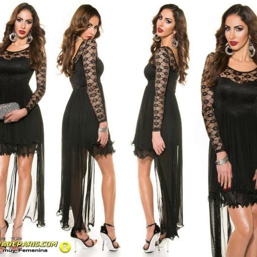 Vestido negro de noche de encaje  [3]