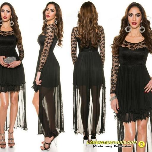 Vestido negro de noche de encaje