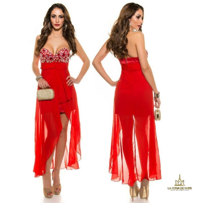 Vestido de noche rojo con pedrería