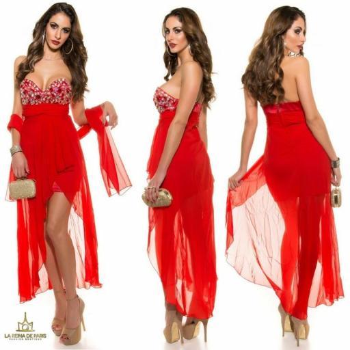 Vestido de noche rojo con pedrería  [2]