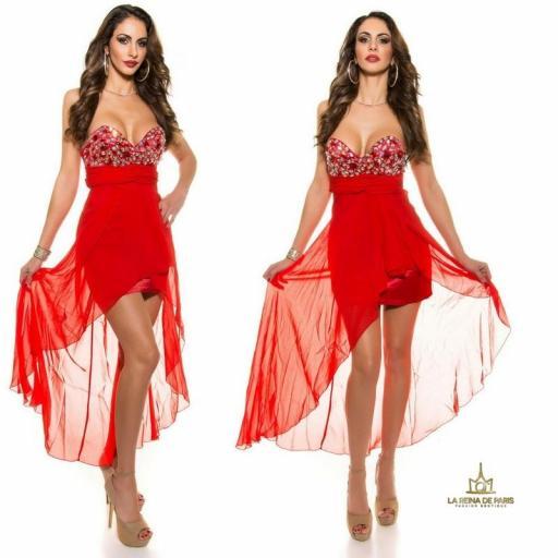 Vestido de noche rojo con pedrería  [1]