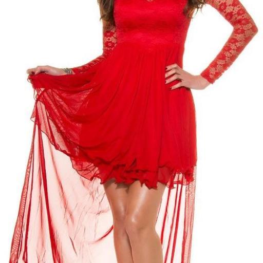 Vestido de noche rojo encaje atractivo [1]