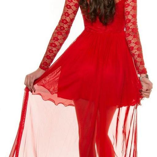 Vestido de noche rojo encaje atractivo [2]