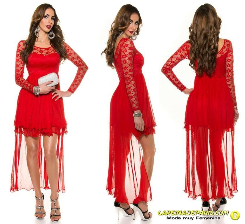 Vestido de noche rojo encaje atractivo