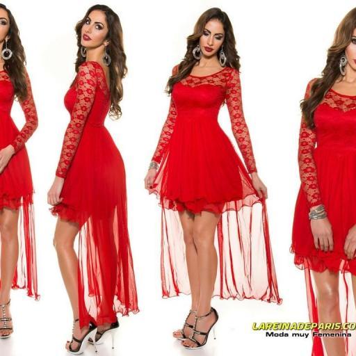 Vestido de noche rojo encaje atractivo [3]
