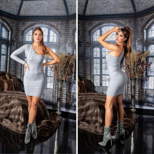 Vestido de punto contonear curvas gris
