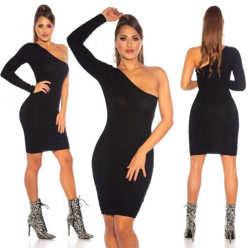 Vestido de punto contonear curvas negro [3]