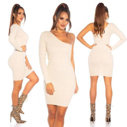 Vestido de punto contonear curvas beige [3]