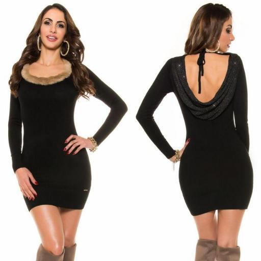 Vestido de punto espalda sexy negro
