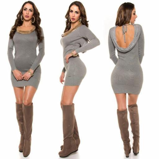 Vestido de punto espalda sexy gris